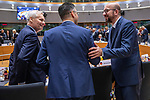 BRUSSELS - BELGIUM - 21 June 2019 -- European Council, summit meeting with heads of state. -- Antti Rinne Prime Minister of Finland with Marjan Sarec Prime Minister of Slovenia and Charles Michel Prime Minister of Belgium. -- PHOTO: Juha ROININEN / EUP-IMAGES