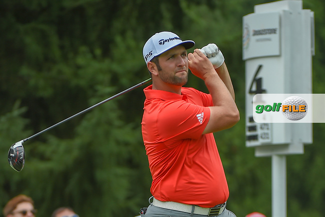 Jon Rahm (ESP) watches his tee shot on 4 during 4th round of the World Golf Championships - Bridgestone Invitational, at the Firestone Country Club, Akron, Ohio. 8/5/2018.<br /> Picture: Golffile | Ken Murray<br /> <br /> <br /> All photo usage must carry mandatory copyright credit (© Golffile | Ken Murray)