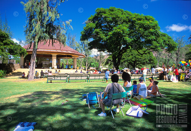 Kapiolani Park's new bandstand is the perfect setting for a sunday aftenoon concert in the park.
