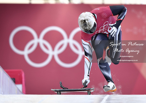Barrett Martineau (CAN). Skeleton training. Alpensia sliding centrePyeongchang2018 winter Olympics. Alpensia. Republic of Korea. 13/02/2018. ~ MANDATORY CREDIT Garry Bowden/SIPPA - NO UNAUTHORISED USE - +44 7837 394578