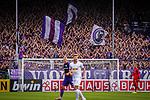 11.08.2019, Stadion an der Bremer Brücke, Osnabrück, GER, DFB Pokal, 1. Hauptrunde, VfL Osnabrueck vs RB Leipzig, DFB REGULATIONS PROHIBIT ANY USE OF PHOTOGRAPHS AS IMAGE SEQUENCES AND/OR QUASI-VIDEO<br /> <br /> im Bild | picture shows:<br /> die Osnabruecker Ostkurve feuert ihr Team an, <br /> <br /> Foto © nordphoto / Rauch