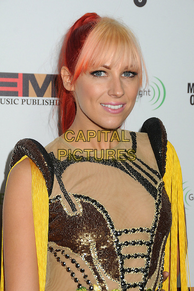 Bonnie McKee.EMI Music 2012 Grammy Awards Party held at Capital Records Tower, Hollywood, California, USA..February 12th, 2012.headshot portrait bronze sequins sequined dyed red hair blonde fringe bangs black beige gold yellow tassels fringed .CAP/ADM/BP.©Byron Purvis/AdMedia/Capital Pictures.