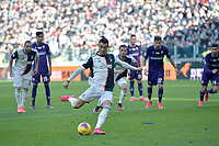 2nd February 2020; Allianz Stadium, Turin, Italy; Serie A Football, Juventus versus Fiorentina; Cristiano Ronaldo of Juventus scores from the penalty kick for 1-0 for Juventus in the 40th minute