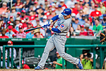 29 June 2017: Chicago Cubs first baseman Anthony Rizzo singles in the 6th inning against the Washington Nationals at Nationals Park in Washington, DC. The Cubs rallied to defeat the Nationals 5-4 and split their 4-game series. Mandatory Credit: Ed Wolfstein Photo *** RAW (NEF) Image File Available ***