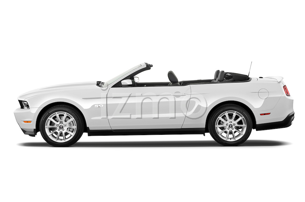 Driver side profile view of a 2011 ford mustang gt premium convertible .