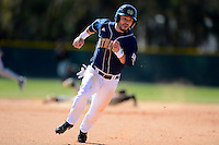 Notre Dame Fighting Irish second baseman Frank DeSico #35 rounds third base during a game against the Mercer Bears at Buck O'Neil Complex on February 17, 2013 in Sarasota, Florida.  Mercer defeated Notre Dame 5-4.  (Mike Janes/Four Seam Images)