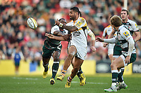 Frank Halai of Wasps passes the ball. Aviva Premiership match, between Leicester Tigers and Wasps on November 1, 2015 at Welford Road in Leicester, England. Photo by: Patrick Khachfe / Onside Images