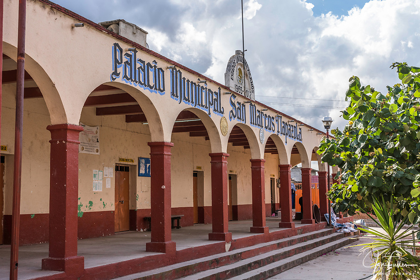 The city hall or municipal palace of the pueblo of San Marcos Tlapazola, in the Central Valleys of Oaxaca, Mexico.