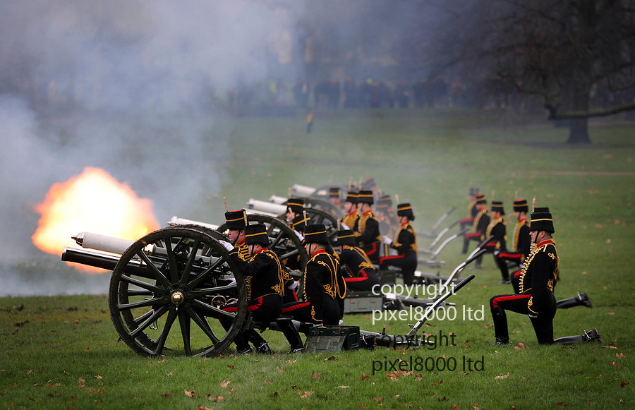 Pic shows: 41 gun salute green park.<br /> <br /> Many of KIng's Troop Horse Artillery were women this year.<br /> <br /> <br /> <br /> <br /> <br /> <br /> pic by Gavin Rodgers/Pixel8000