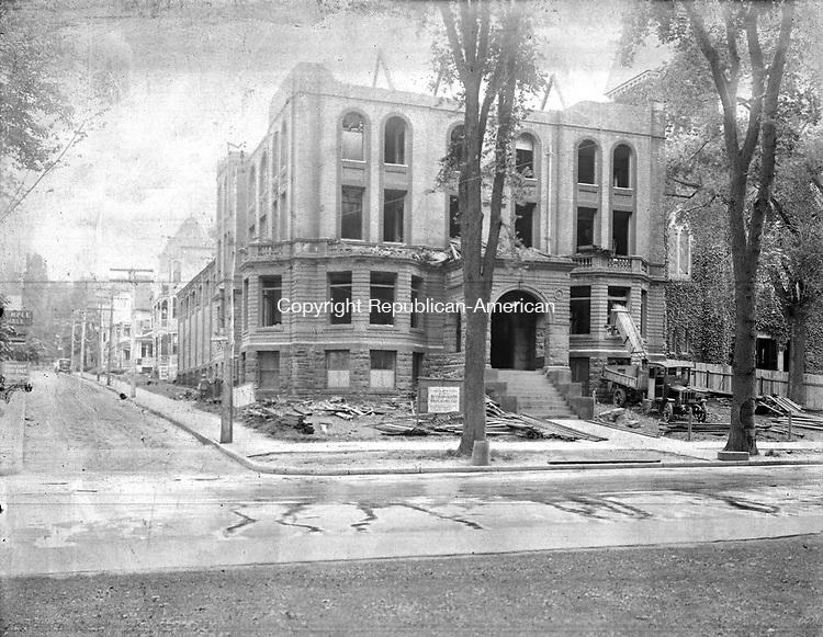 Frederick Stone negative. YMCA building in Waterbury, CT., undergoing construction.