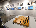 The chess board used by Bobby Fischer and Boris Spassky in their famous 1972 match is on display at the World Chess Hall of Fame in St. Louis where a new chess history exhibition, US Chess: 80 Years—Promoting the Royal Game in America, opened with a free opening reception event on March 6, 2019. The chess exhibit will be on display through October 27, 2019. <br /> (Tim Vizer/AP Images for  World Chess Hall of Fame)