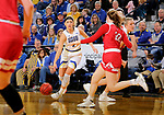 BROOKINGS, SD - FEBRUARY 22: Rylie Cascio Jensen #2 of the South Dakota State Jackrabbits looks to drive with the ball against the South Dakota Coyotes Saturday at Frost Arena in Brookings, SD. (Photo by Dave Eggen/Inertia)