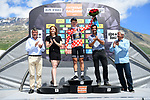 Koen Bouwman (NED) Lotto NL-Jumbo retains the mountains polka dot jersey on the podium at the end of Stage 7 of the Criterium du Dauphine 2017, running 168km from Aoste to Alpe d'Huez, France. 10th June 2017. <br /> Picture: ASO/A.Broadway | Cyclefile<br /> <br /> <br /> All photos usage must carry mandatory copyright credit (&copy; Cyclefile | ASO/A.Broadway)