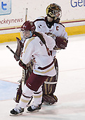 Melissa Bizzari (BC - 4), Corinne Boyles (BC - 29) - The Boston College Eagles defeated the Northeastern University Huskies 3-0 on Tuesday, February 11, 2014, to win the 2014 Beanpot championship at Kelley Rink in Conte Forum in Chestnut Hill, Massachusetts.