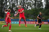 Elise Hughes of Wales Women's' in action during the Women's International Friendly match between Wales and New Zealand at the Cardiff International Sports Stadium in Cardiff, Wales, UK. Tuesday 04 June, 2019