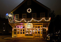 Beautiful Christmas lights glow on the Alexander Michael's  Restaurant &amp; Tavern in the Fourth Ward in Uptown Charlotte, North Carolina.<br /> <br /> Photography of  Charlotte area Christmas time scenes.<br /> <br /> Charlotte Photographer - PatrickSchneiderPhoto.com