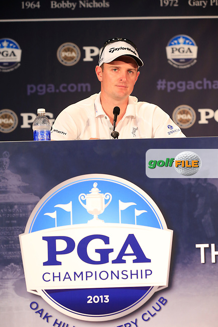 US Open Champion Justin Rose (ENG) speaks in the interview room during Wednesday's Practice Day of the 95th US PGA Championship 2013 held at Oak Hills Country Club, Rochester, New York.<br /> 7th August 2013.<br /> Picture: Eoin Clarke www.golffile.ie