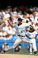 Braden Looper of the Florida Marlins during a game against the Los Angeles Dodgers at Dodger Stadium circa 1999 in Los Angeles, California. (Larry Goren/Four Seam Images)