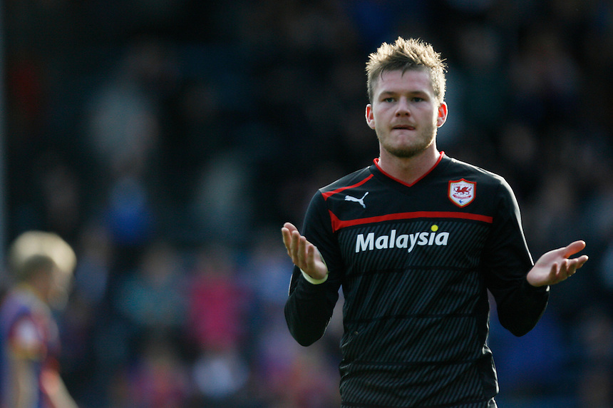 Aron Gunnarsson gestures to the Cardiff fans at the final whistle..Football - npower Football League Championship - Saturday 22nd September 2012 - Crystal Palace v Cardiff City - Selhurst Park - London..?