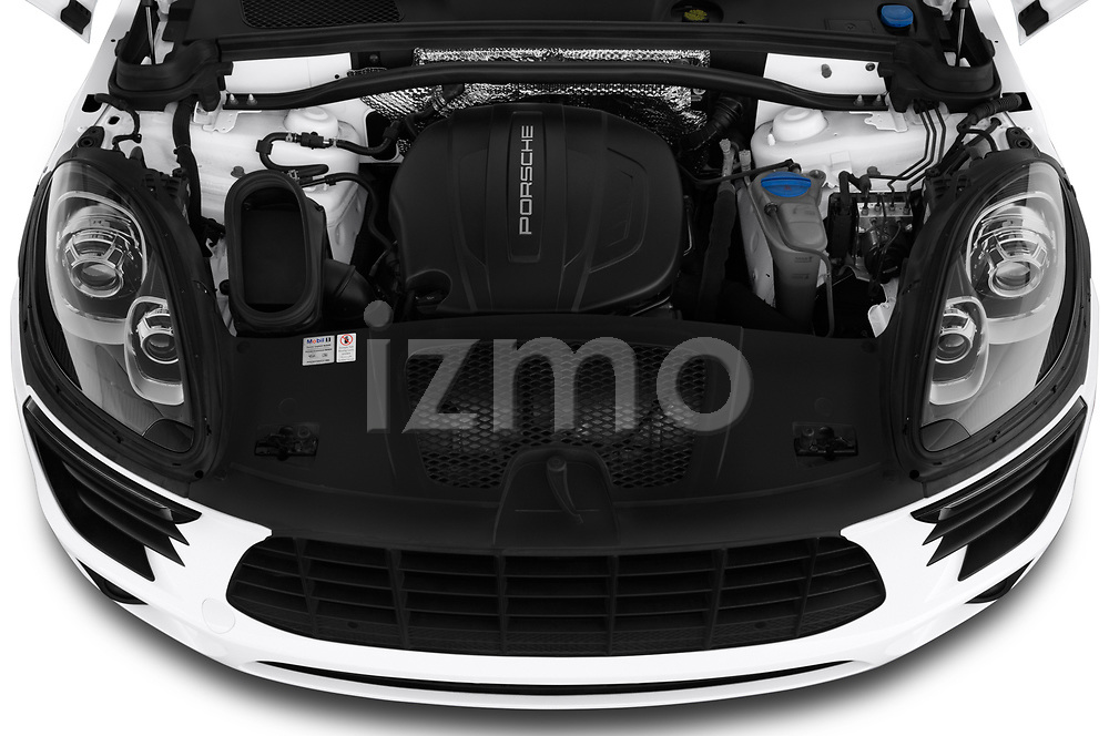 Car stock 2018 Porsche Macan Base 5 Door SUV engine high angle detail view