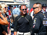 Jul. 27, 2014; Sonoma, CA, USA; NHRA top fuel driver Steve Torrence (left) talks with Tony Schumacher during the Sonoma Nationals at Sonoma Raceway. Mandatory Credit: Mark J. Rebilas-