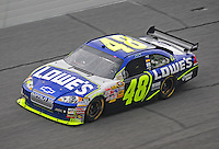 Feb 13, 2008; Daytona Beach, FL, USA; Nascar Sprint Cup Series driver Jimmie Johnson (48) during practice for the Daytona 500 at Daytona International Speedway. Mandatory Credit: Mark J. Rebilas-US PRESSWIRE