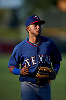 AZL Rangers left fielder William Jeffry (12) jogs off the field between innings of an Arizona League game against the AZL Athletics Gold on July 15, 2019 at Hohokam Stadium in Mesa, Arizona. The AZL Athletics Gold defeated the AZL Rangers 9-8 in 11 innings. (Zachary Lucy/Four Seam Images)