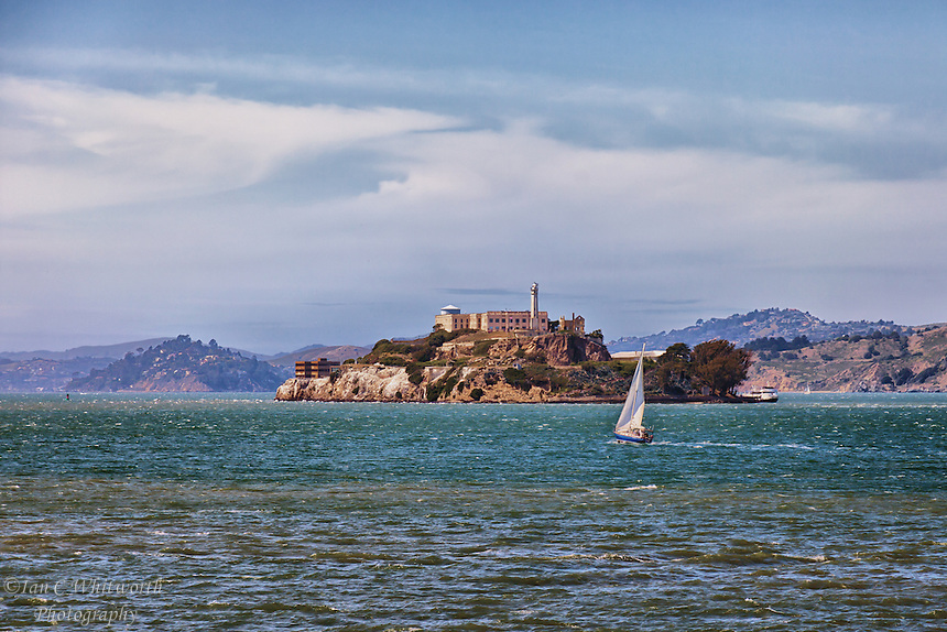 Looking out at Alcatraz Island in the San Francisco Bay.