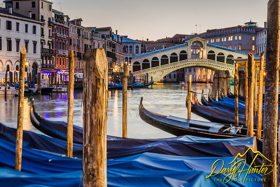Docked Gondolas on the Grand Canal in Venice Italy.