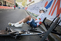 Ivo Oliveira (POR) drops to the ground as soon as he crosses the finish<br /> <br /> Men Under-23 Individual Time Trial<br /> <br /> UCI 2017 Road World Championships - Bergen/Norway