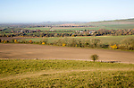 View of the Vale of Pewsey looking west from Woodborough Hill, Wilcot, Wiltshire, England, UK