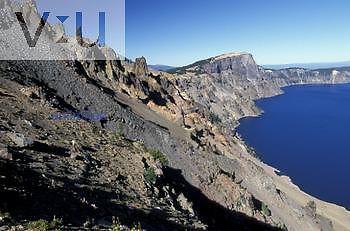 Devil's Backbone volcanic intrusion on rim of Crater Lake, Crater Lake National Park, Oregon.