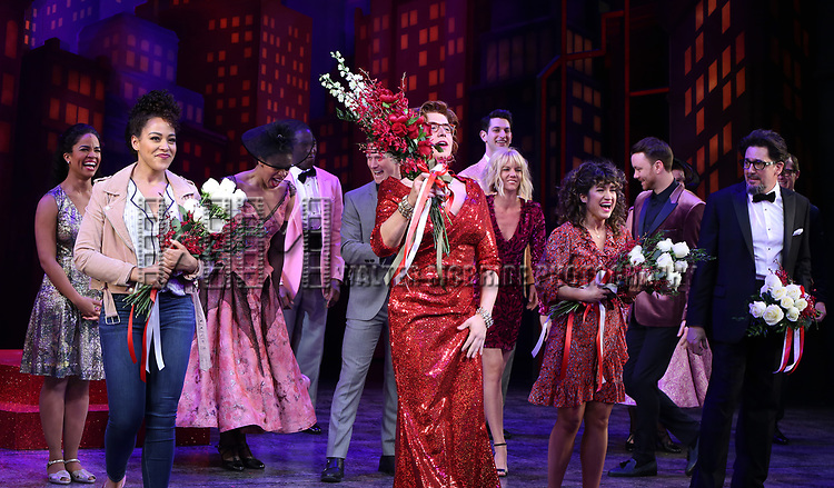 "Lilli Cooper, Santino Fontana, Sarah Stiles and Reg Rogers with cast during the Broadway Opening Night of ""Tootsie"" at The Marquis Theatre on April 22, 2019  in New York City."