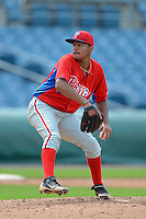 Pitcher William Rios (21) of St. Bernard High School in Waterford, Connecticut playing for the Philadelphia Phillies scout team during the East Coast Pro Showcase on July 31, 2013 at NBT Bank Stadium in Syracuse, New York.  (Mike Janes/Four Seam Images)