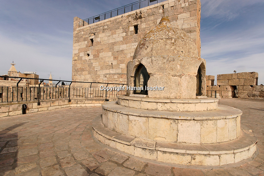 Israel, Jerusalem, The Tower of David museum at the Citadel. The cupola and the hexagonal room beneath are part of the Mameluke rebuilding that took place around 1310<br />