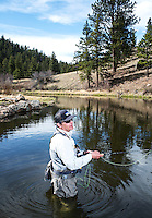 The Broadmoor Hotel's Fish Camp Manager Scott Tarrant fly fishing near Colorado Springs, Colorado, Monday, May 4, 2015. <br /> <br /> Photo by Matt Nager