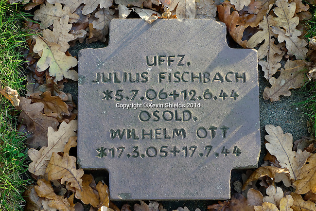 Grave marker at the German cemetery in La Cambe, Normandy, France