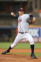 Gwinnett Braves starting pitcher Matt Wisler (45) delivers a pitch to the plate during a game against the Leigh Valley IronPigs at Coolray Field on May 25, 2015 in Lawrenceville, Georgia. (David Welker/Four Seam Images)