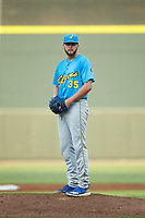 Myrtle Beach Pelicans starting pitcher Alex Lange (35) looks to his catcher for the sign against the Winston-Salem Dash at BB&T Ballpark on August 6, 2018 in Winston-Salem, North Carolina. The Dash defeated the Pelicans 6-3. (Brian Westerholt/Four Seam Images)