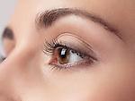 Closeup of woman eye with brown iris and long eyelashes