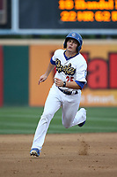 Omar Estevez (25) of the Rancho Cucamonga Quakes runs the bases during a game against the Modesto Nuts at LoanMart Field on August 2, 2017 in Rancho Cucamonga, California. Modesto defeated Rancho Cucamonga, 10-5. (Larry Goren/Four Seam Images)