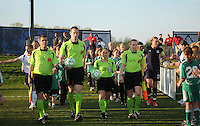 WPS referees and teams entering the field.  Boston Breakers defeated Washington Freedom 3-1 at The Maryland SoccerPlex, Saturday April 18, 2009.