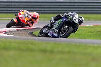 3rd November 2019; Sepang Circuit, Sepang Malaysia; MotoGP Malaysia, Race Day;  Maverick Vinales stays ahead of Marc Marquez during the race - Editorial Use