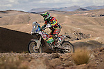 "Motorcycle rider Juan Carlos ""Chavo"" Salvatierra from Bolivia riding his KTM bike during the 5th stage of the Dakar Rally 2016 in the Bolivian Altiplano."
