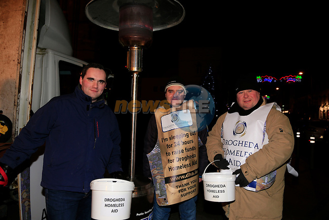 Mayor Kevin Callan Cormac Bohan  and Paul Bell taking part in the Drogheda homeless aid sleepout.<br /> Picture www.newsfile.ie