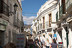 Historic buildings popular holiday resort town of Nerja, Malaga province, Spain
