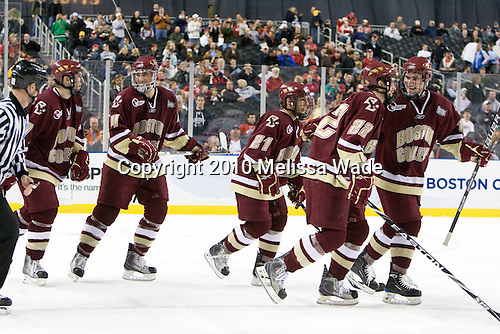 Edwin Shea (BC - 8), Tommy Cross (BC - 4), Steven Whitney (BC - 21), Paul Carey (BC - 22), Pat Mullane (BC - 11) - The Boston College Eagles defeated the Miami University RedHawks 7-1 in the 2010 NCAA Frozen Four Semi-Final on Thursday, April 8, 2010, at Ford Field in Detroit, Michigan.
