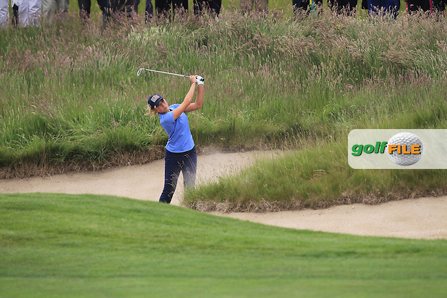 Sierra Brooks plays out of a bunker on the 7th during the Friday afternoon Fourballs of the 2016 Curtis Cup at Dun Laoghaire Golf Club on Friday 10th June 2016.<br /> Picture:  Golffile | Thos Caffrey