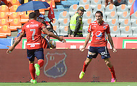 MEDELLÍN -COLOMBIA-05-06-2016. Hernan Hechalar jugador del Medellín celebra un gol anotado a Cali durante el encuentro de vuelta entre Independiente Medellín y Deportivo Cali por los cuadrangulares finales de la Liga Águila I 2016 jugado en el estadio Atanasio Girardot de la ciudad de Medellín./ Hernan Hechalar player of Medellin celebrates a goal scored to Cali during the second leg match between Independiente Medellin and Deportivo Cali for the finals quadrangular of the Aguila League I 2016 at Atanasio Girardot stadium in Medellin city. Photo: VizzorImage/ León Monsalve /Str