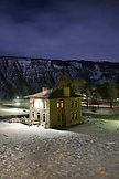 USA, Wyoming, Yellowstone National Park, hotel room view at Mammoth Hot Springs in the Winter